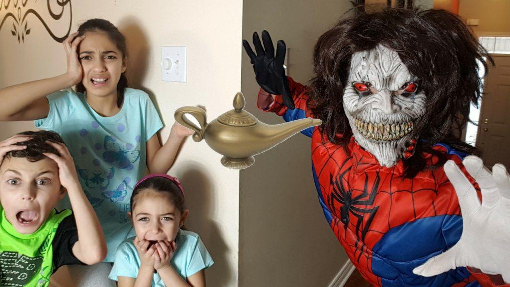 Bad Baby Magic Wand Genie Lamp Prank SPIDERMAN Freaks Kids Out! HZHtube Kids Fun