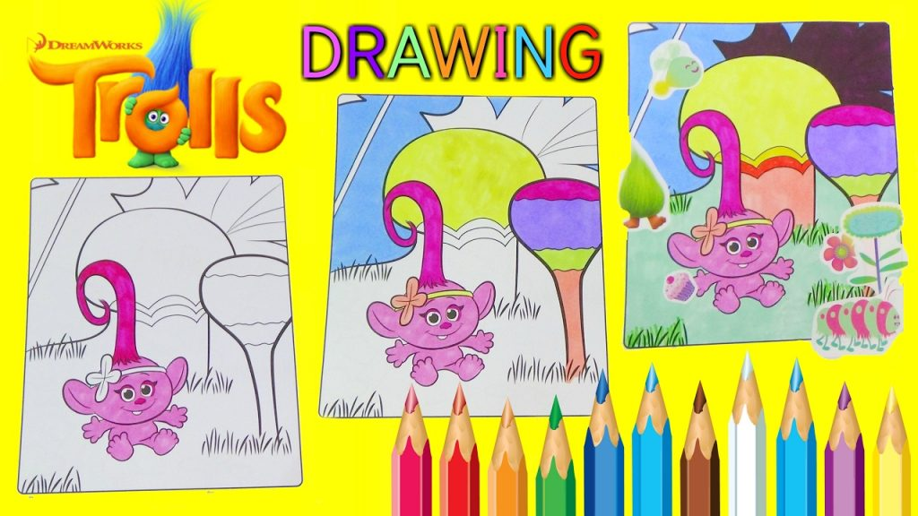 Magic Coloring Page with Dreamworks TROLLS, BABY POPPY and Branch, Stickers for Kids