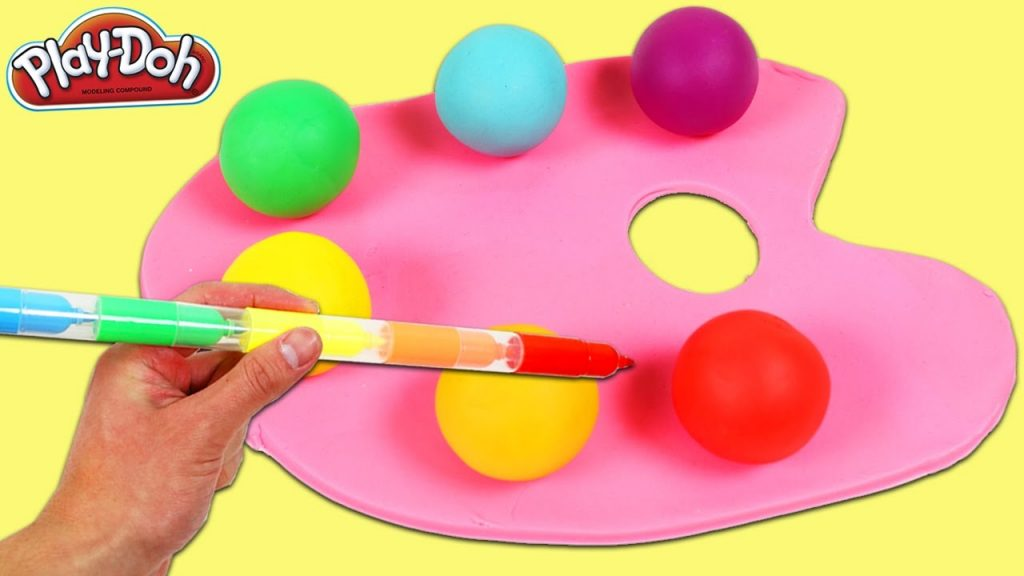 LEARN COLORS for Kids Play Doh Rainbow Paint Palette & Magic Stacking Markers Color Gumballs!
