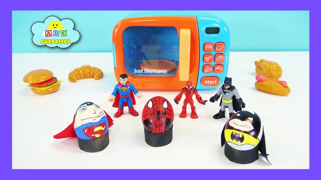 Pretend Play Just Like Home Magic Toy Microwave Kitchen Kids Egg Surprise Spiderman Batman Superman