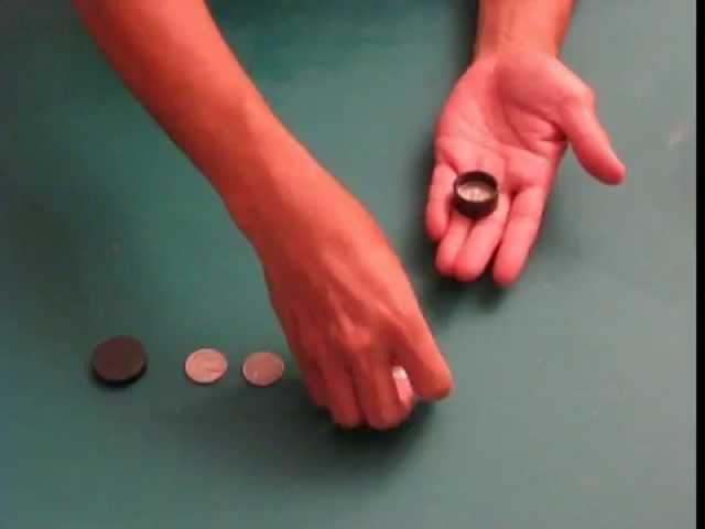 Boston coin box, magic trick coins penetrating hand