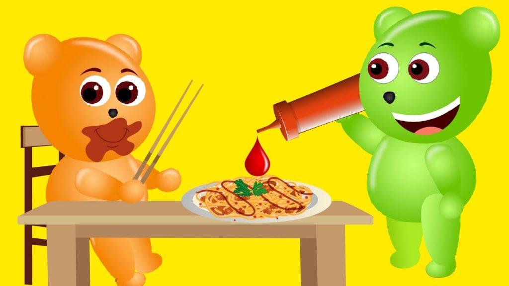 Mega Gummy bear baby crying magic Ketchup finger family nursery fro kids   Gummy kid