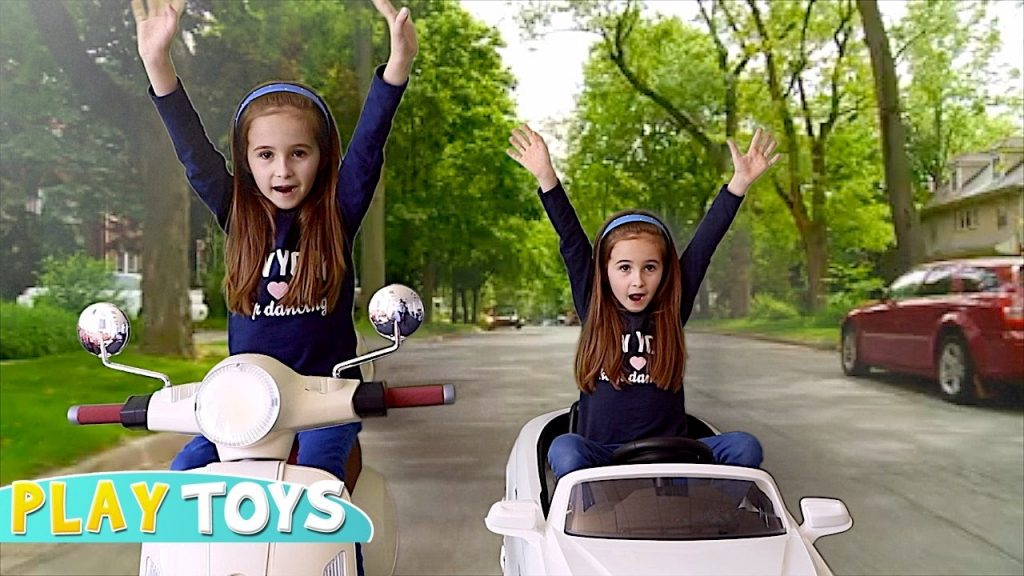 Kids MAGIC CAR RIDE * kids driving cars in real life  w/ Magician BABY TWIN SISTER