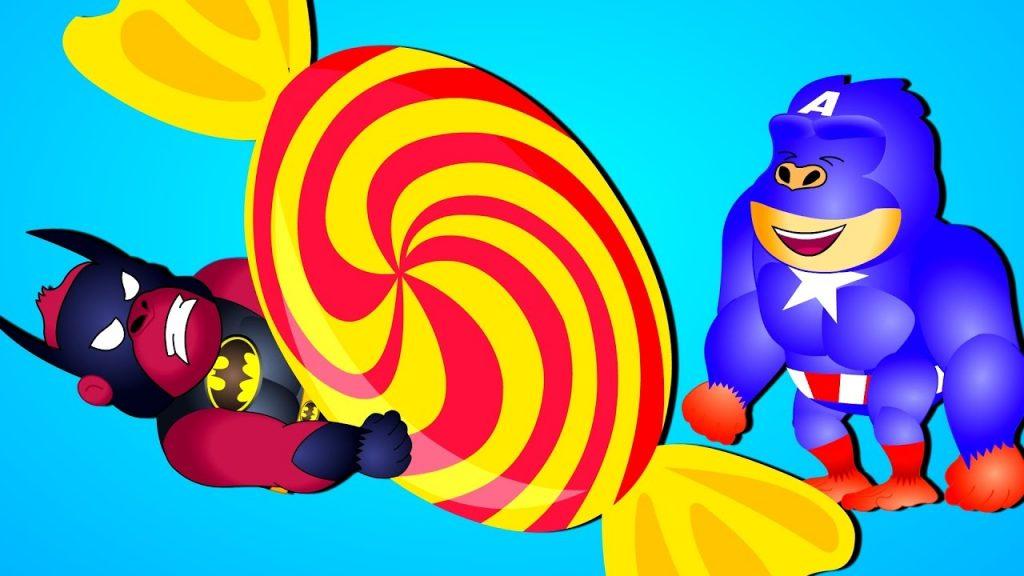 Gorilla Superheroes  mega Magic candy funny daddy finger song for kids|Gorilla funny videos for kids