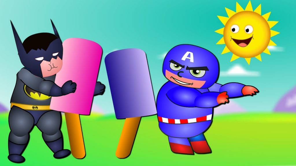 Superheroes Eating Magic Candy Ice Cream Finger Family Kids Songs with dance| superheroes fun videos