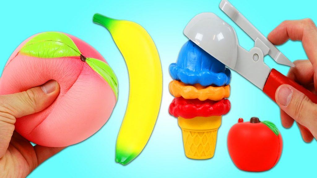 Learn Fruit Names With Squishy Toys, Magic Toy Microwave, and Magic Blender Kitchen Appliance Toys!
