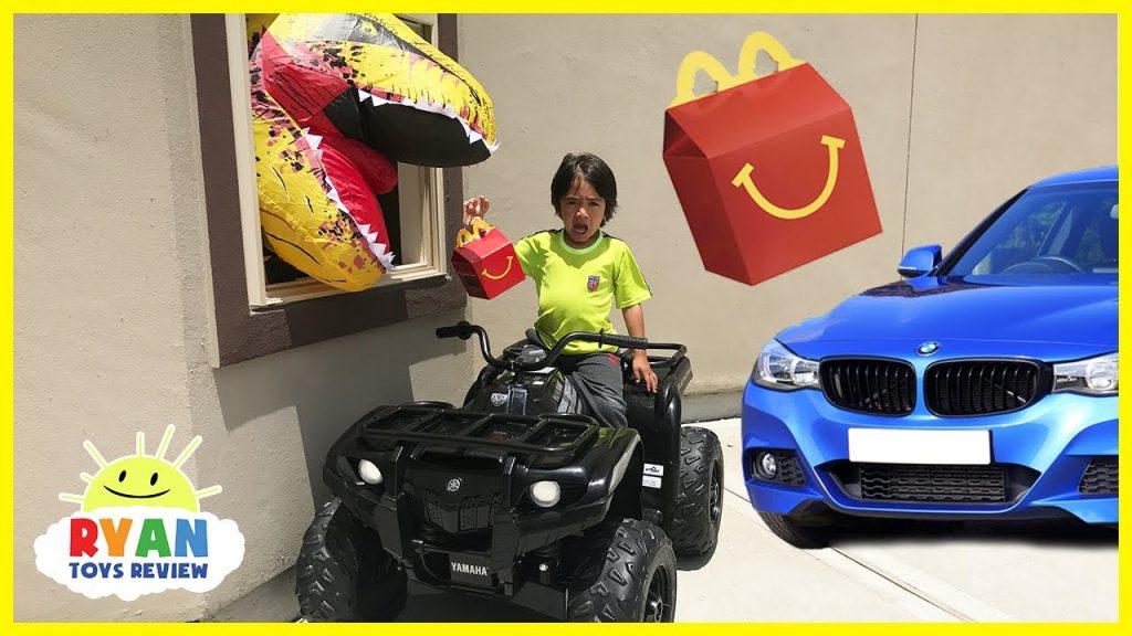 McDonald's Drive Thru Prank Bad Daddy Dinosaur IRL magic transform with Power Wheels Ride On Car