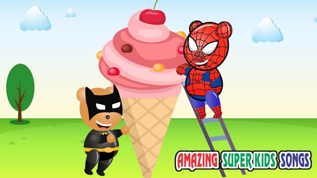 Superheros Mega Gummy Bear Magic Show Finger Family Rhymes Gummybear Giant Ice Cream for Kids