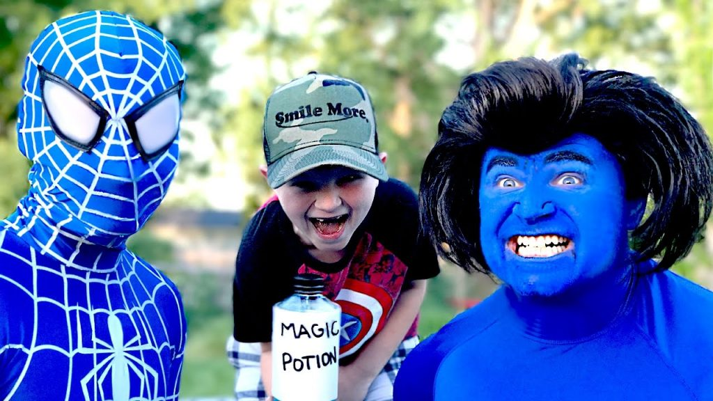 Blue Hulk & Blue Spiderman with Super Kid Real Life Magic Potion | Kids Movie In Real Life