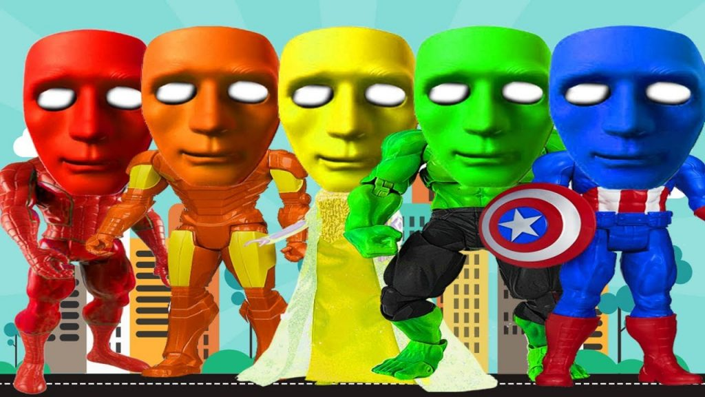 Superheroes Gets Colors Masks Candy Magic Spiderman Frozen Elsa Hulk, Colors for Kids to Learn