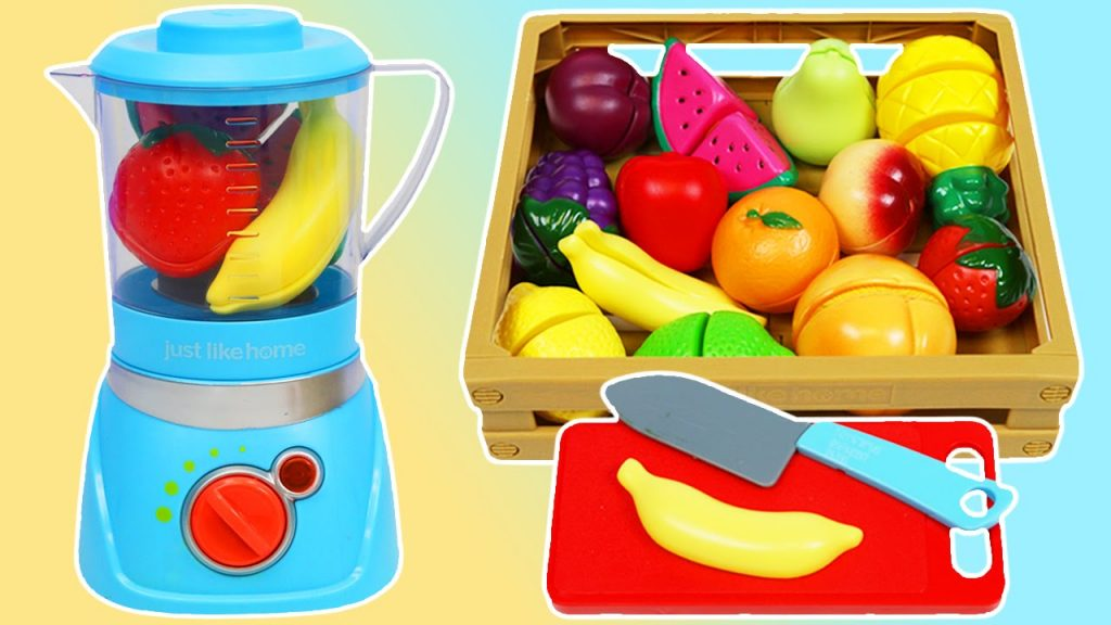 MAGIC Fruit Blender Slime Smoothies Playset Toy Velcro Cutting Fruits Kids Learning!