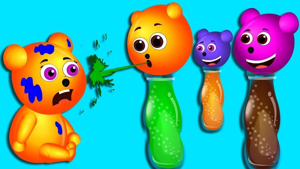 Mega Gummy bear learning colors with Magic bottles finger family rhymes for kids   Gummibear toys
