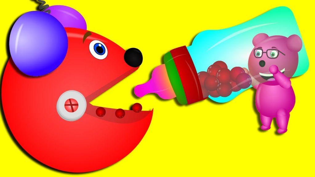 Mega Gummy bear learning colors with magic robot finger family rhymes for kids   Gummibear toys