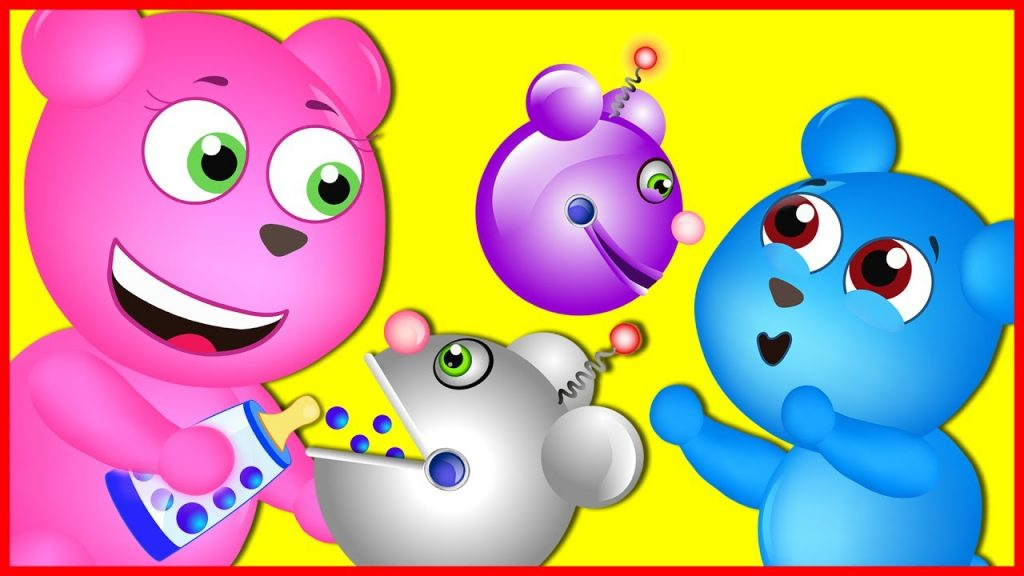 Mega Gummy Bear Learning Colors With Magic Robot Finger Family Nursery Rhymes for kids Toys Fun