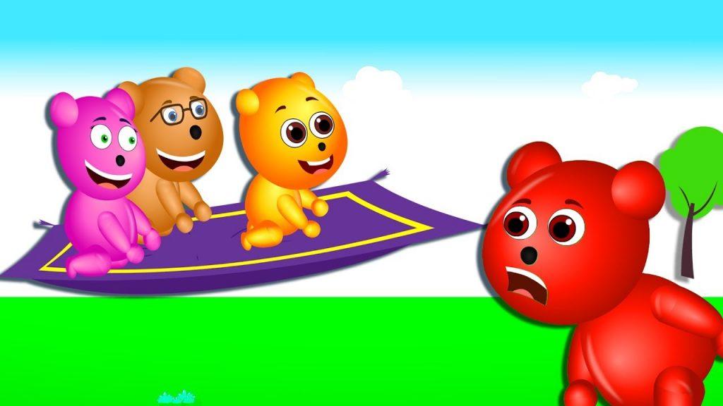 Gummy bear having fun flying on the magic carpet finger family rhymes for kids | Gummibear toys