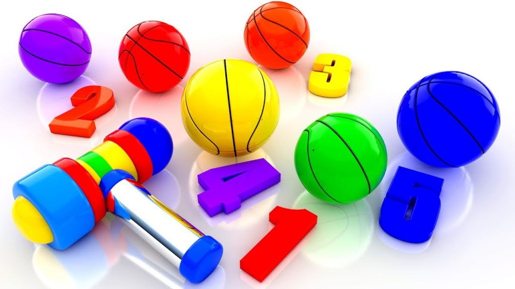 Colors Numbers for Children to Learn with Kinder Magic Hammer BasketBalls 3D Kids Toddler Education