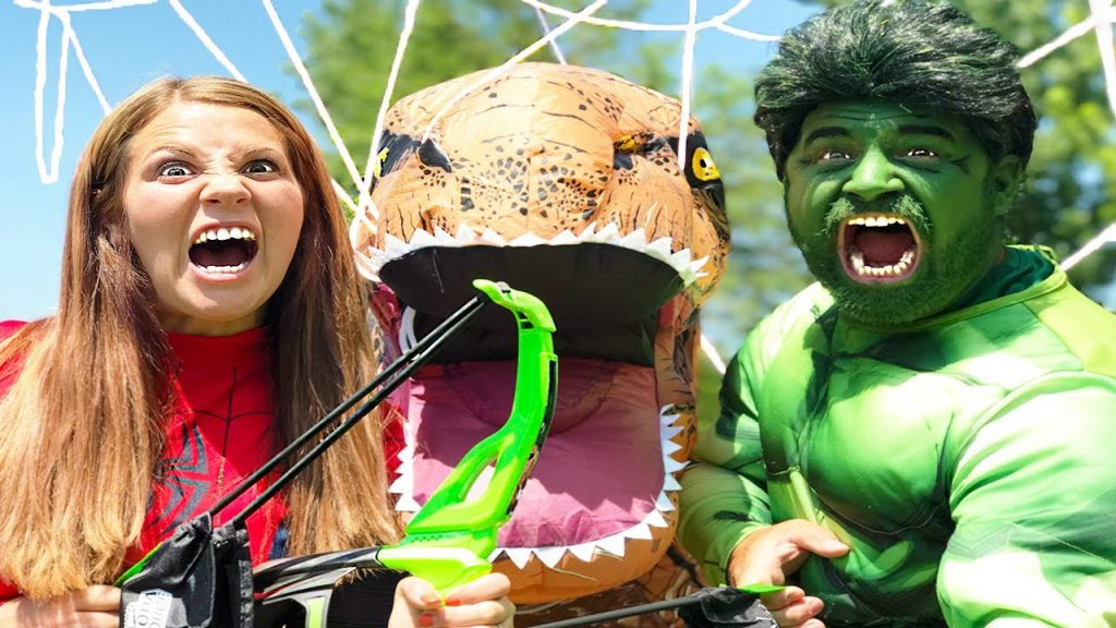 Hulk and Spidergirl Vs Magic Toy T-Rex | Super Hero Kids Movie In Real Life
