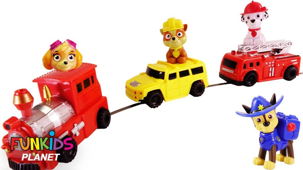 Learning Color Videos for Kids: Paw Patrol Skye and Chase with Magic Race Car, Train & Fire Truck