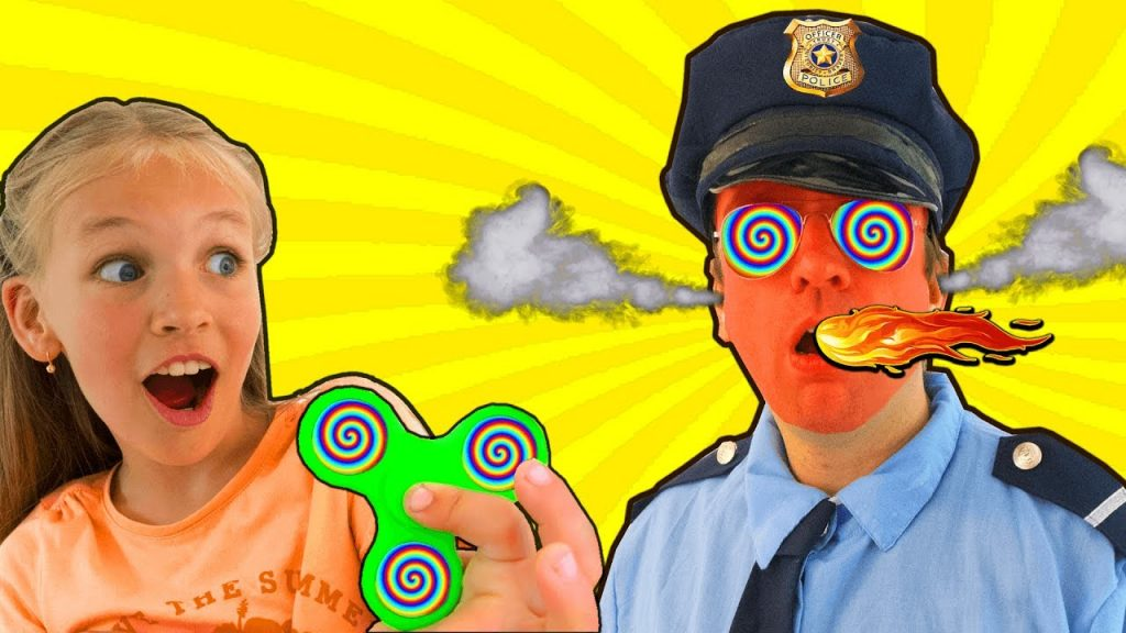 Bad Kids Magic Fidget Spinner Hypnotize Police officer! Bad baby steals M&M's! (SKIT)