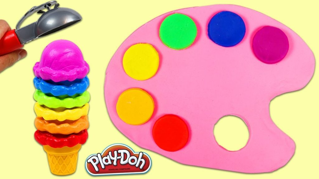 Learn Rainbow Colors for Kids Play Doh Paint Palette Magic Stacking Markers and Rainbow Ice Cream!
