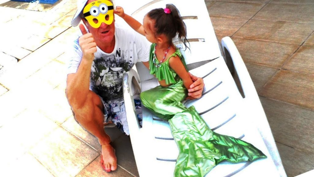 Bad Kid Magic Transform The Mermaid in Pool. Playground for kids The Mermaids tale