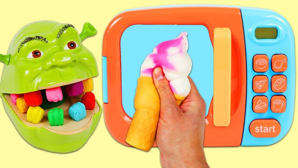 Feeding Shrek Squishy Food and Dessert with Play Doh and Magic Toy Microwave!