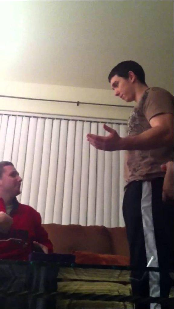 Grown men fighting over magic cards