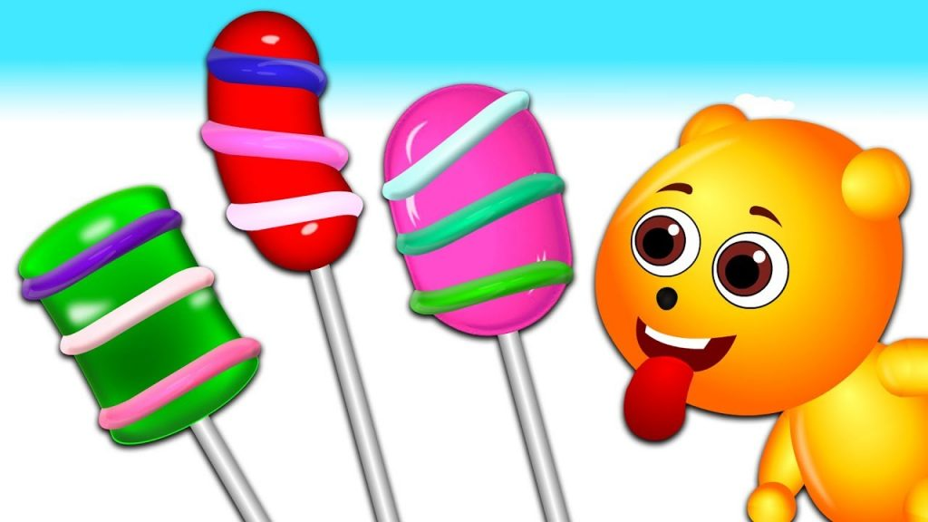 Mega Gummy bear eating magic candy lollipop finger family rhymes for kids | Gummybear ice cream fun