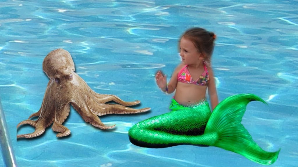 bad kid magic transform the mermaid in pool nursery rhyme outdoor playground for kids and baby