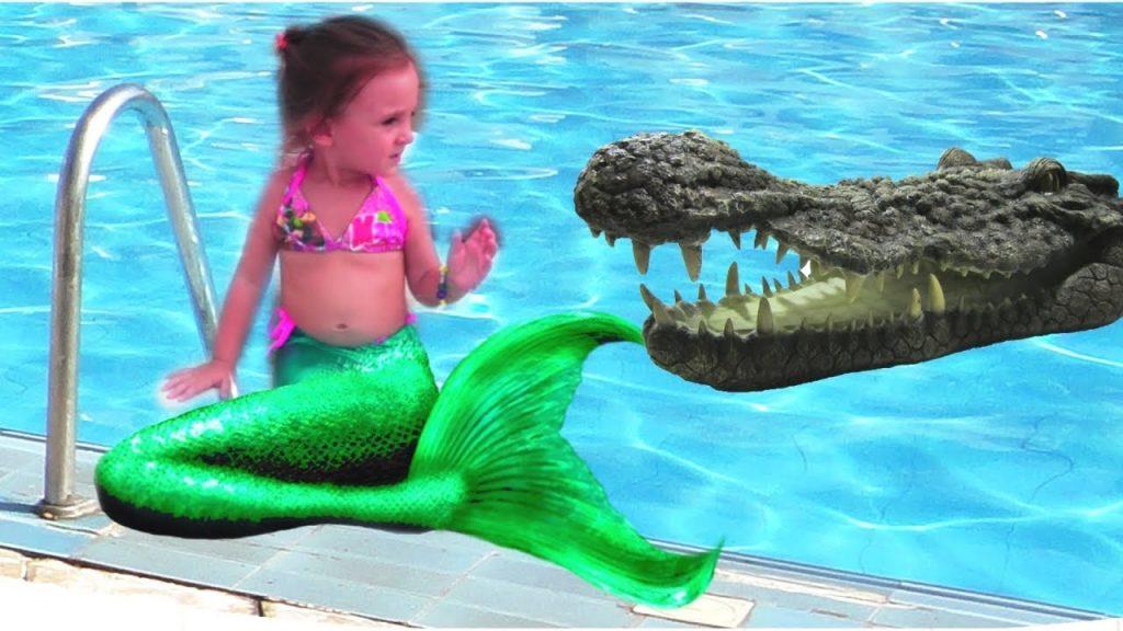 bad kid magic transform the mermaid in pool nursery rhyme playground for kids vs aligator