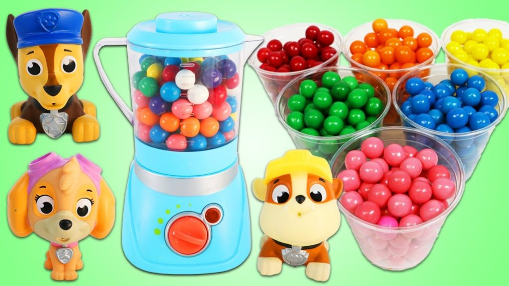 LEARN COLORS Paw Patrol Magic Rainbow GumBall Blender Kids Learning Stop Motion!