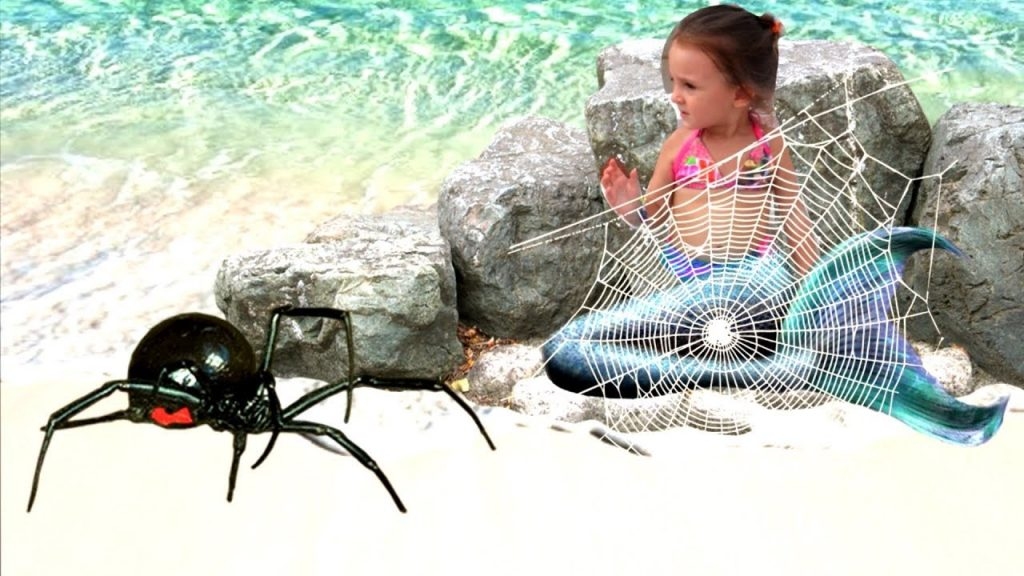 Bad kid magic transform the mermaid in pool nursery rhyme outdoor playground for kids vs spider