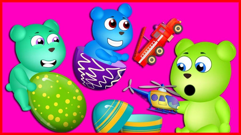 Mega Gummy Bear Magic Eggs Finger Family Nursery Rhymes for kids Toys Fun