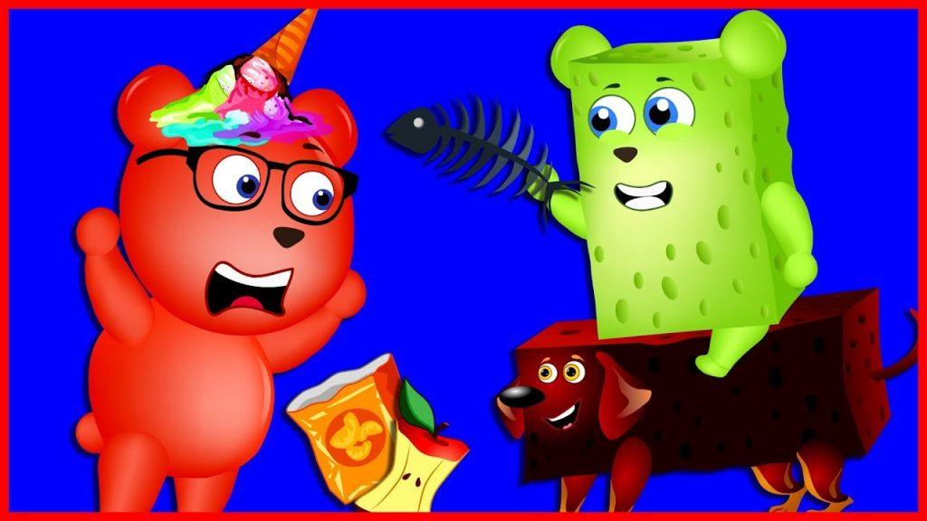 Mega Gummy Bear Became Sponge Bob From Magic Powder Finger Family Nursery Rhymes for kids Toys Fun