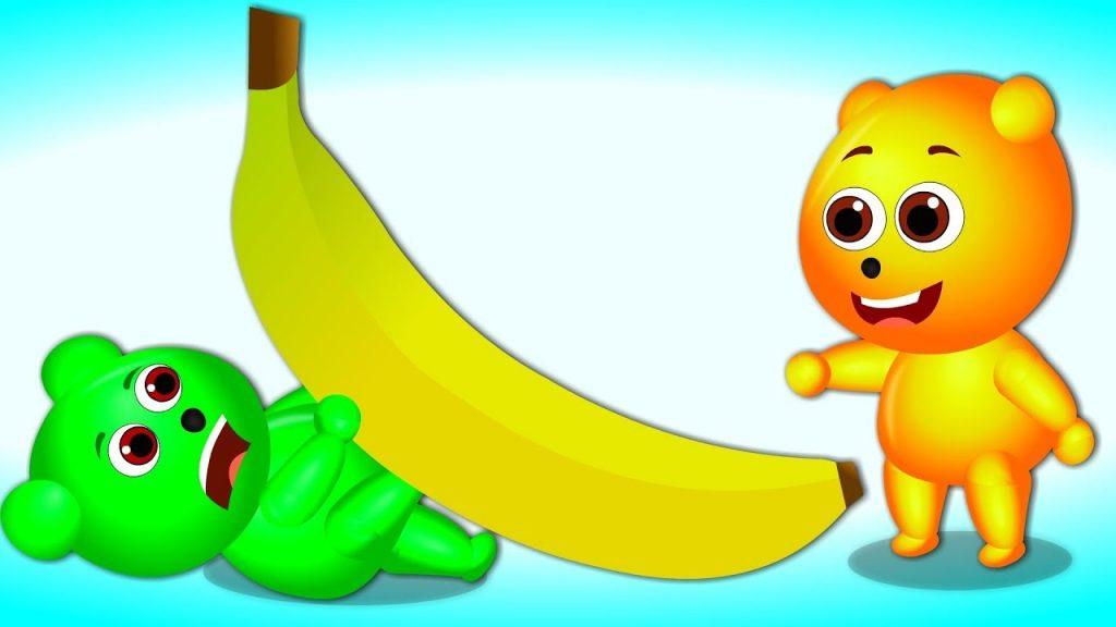 Mega Gummy bear eating giant magic banana finger family for kids   Funny kids Cartoon