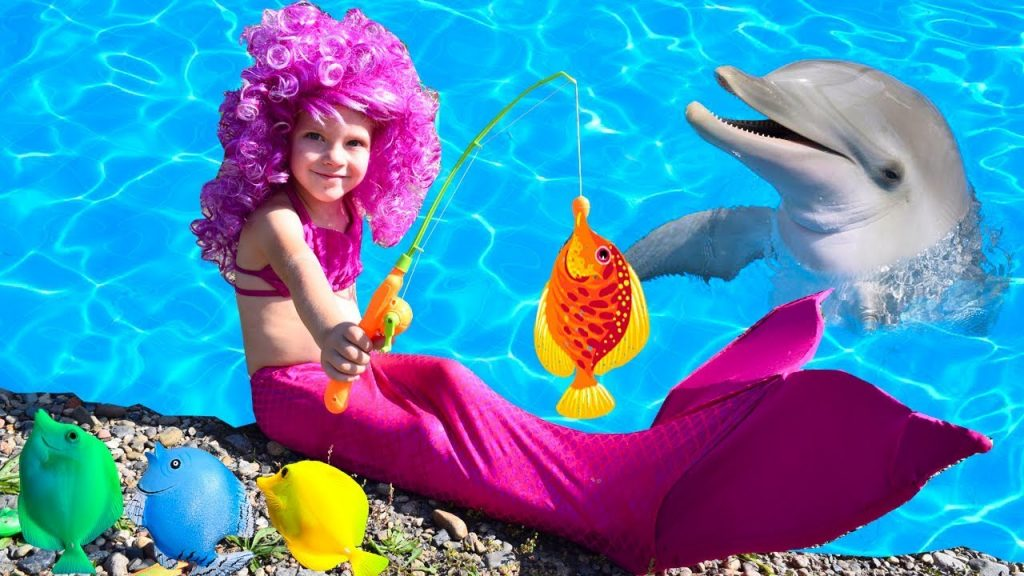 Bad Kid Magic Transform The Mermaid in pool Finger Family Song Nursery Rhyme Playground for kids 6