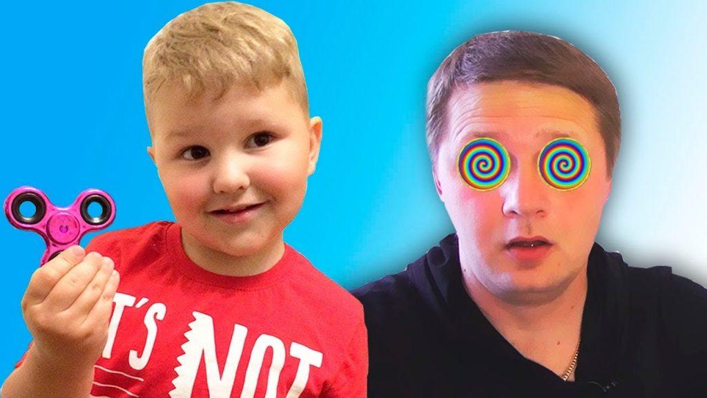Вредный малыш загипнотизировал папу спинером! Bad Kids Magic Fidget Spinner Hypnotize dad!