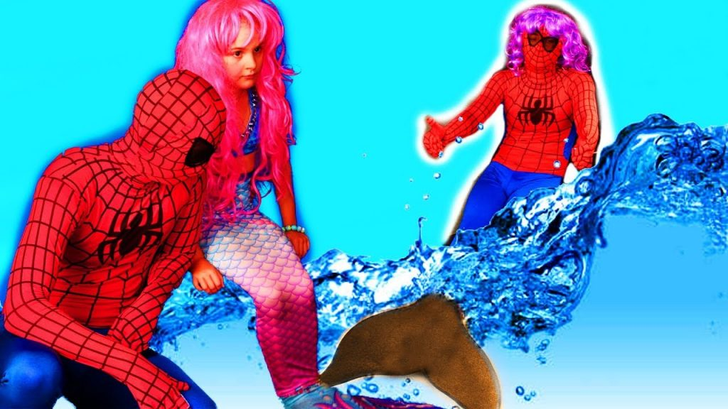 Bad Kid Magic Transform The Mermaid in Pool Playground for kids Mermaid & SPiderman.