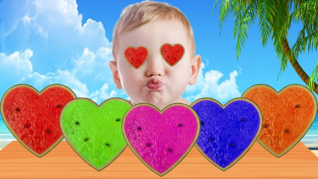 Bad Baby Learn Colors With Gummy HEART Watermelon Color Magic Toys For Kids Songs Nursery Rhymes #2