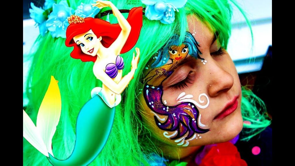 Learn colors with Baby Songs Magic Transform Little Mermaid.DIY Halloween Makeup Tutorials 2017