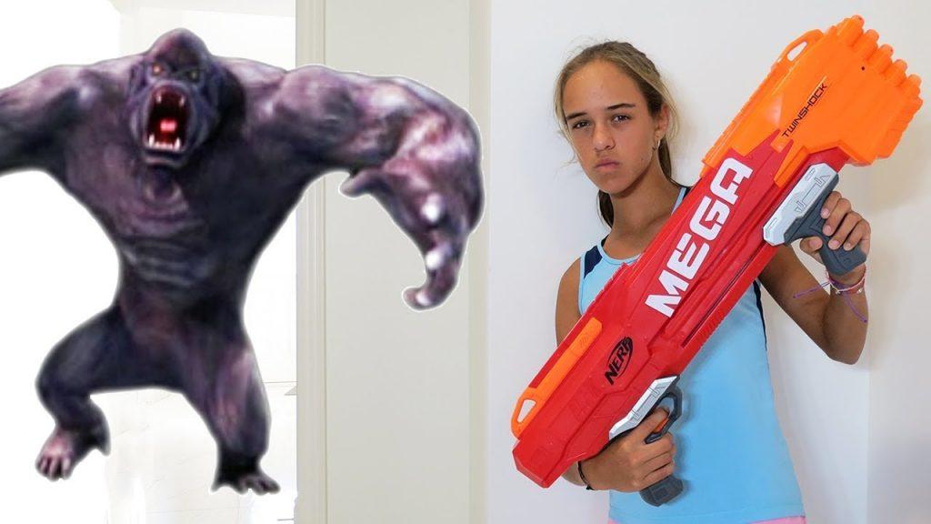 Bad Kids & Giant Gorilla Vs Nerf Guns Magic Kinder Surprise Eggs Sophia Sarah Toys To See