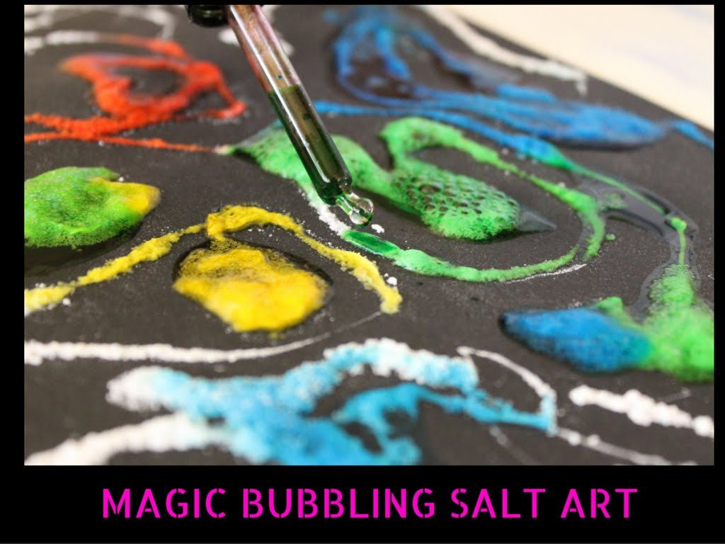 Salt Art with magic Bubbles! Combine science & art in this fun KIDS  project!