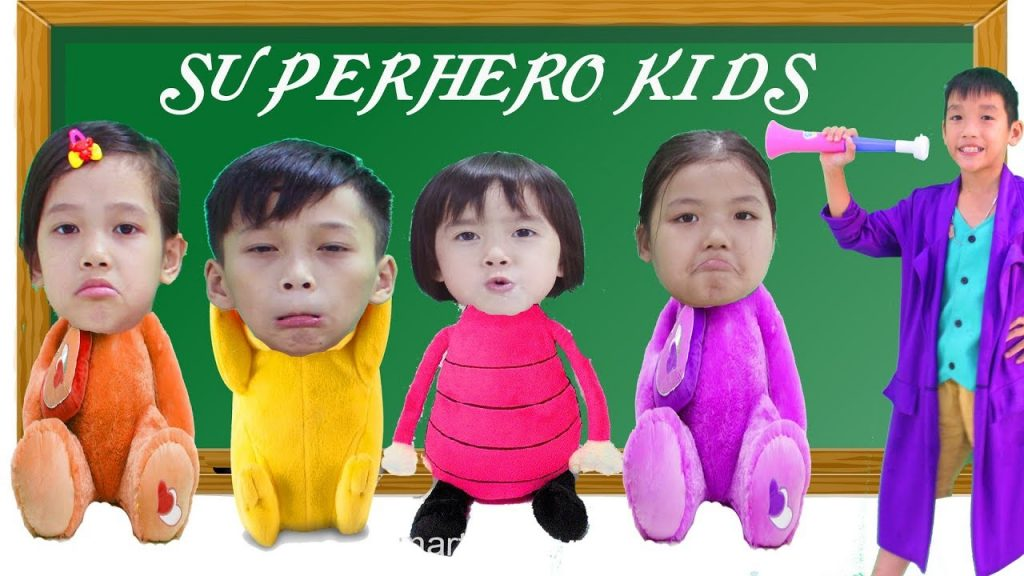 SuperHero Kids Go To School Learn Colors with Magic Trumpet Finger Family Song Nursery Rhyme