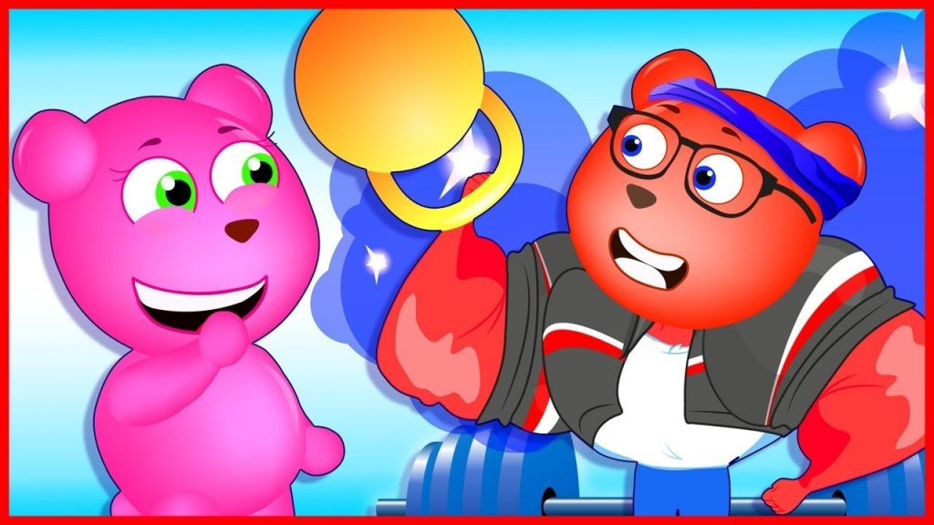 Mega Gummy Bear Magic Weights Finger Family Nursery Rhymes for kids Toys Fun