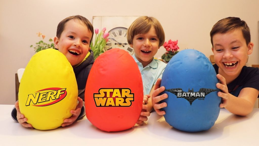 Lego, Nerf and Star Wars Big Play Doh Surprise Eggs – Yellow Red and Blue