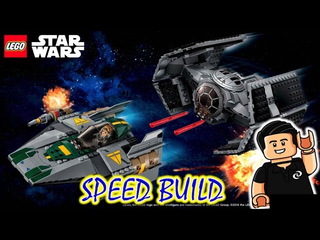 Lego Star Wars Vader's TIE Advanced VS. A-wing Starfighter Speed Build