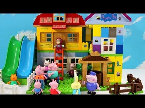 Peppa Pig And Masha Blocks Mega Lego House Sets With George Pig, Daddy Pig, Mummy Pig Lego Toys