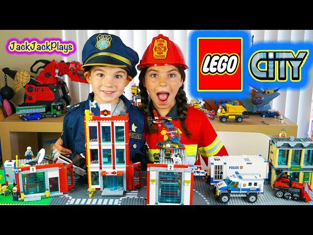 Lego City Fire and Police: Kids Playing with Legos Toys: Fire Station and Engines, Police Trucks