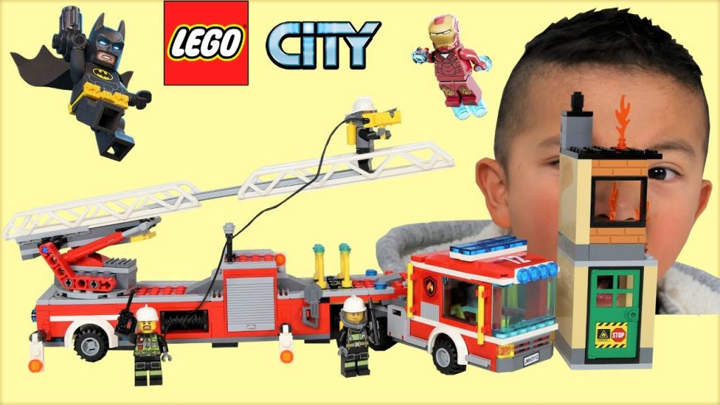 Fire Truck Lego City Set Opening Fun With Iron Man And Batman Ckn Toys