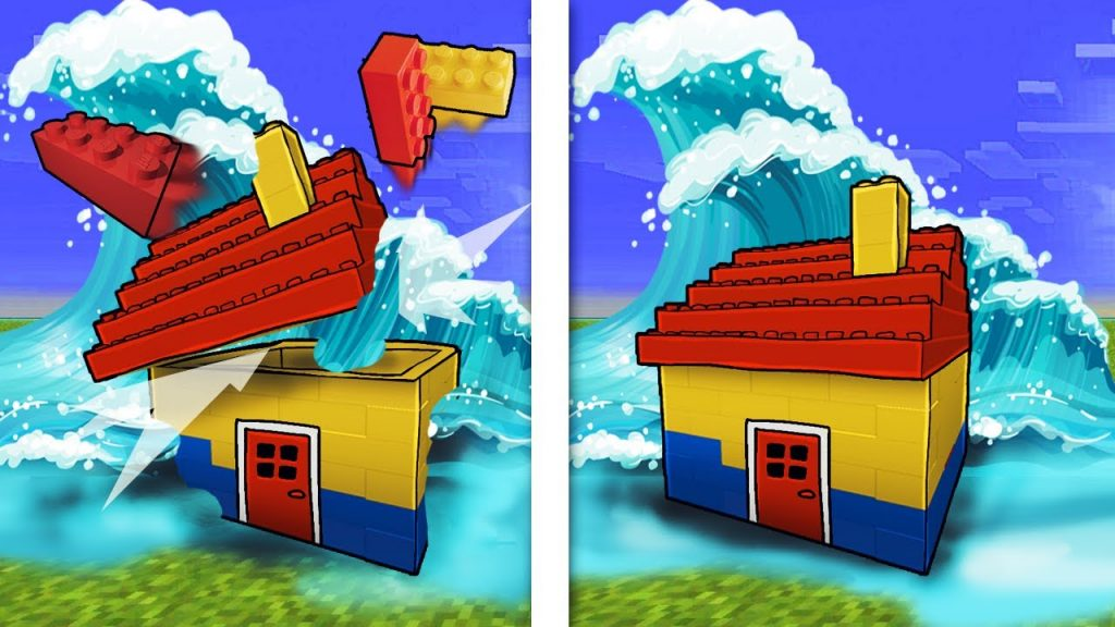 Minecraft | Tsunami Lego Base Challenge – Tsunami Destroys Lego City! (WILL IT BREAK?)
